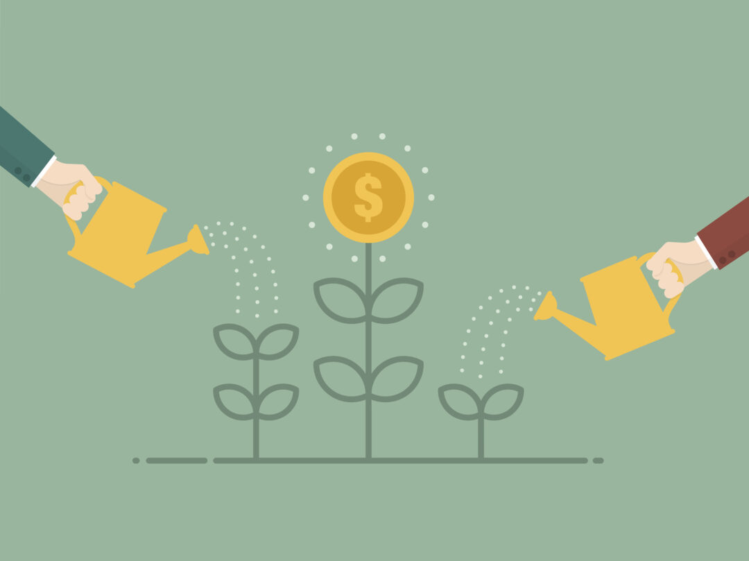illustration watering money plants