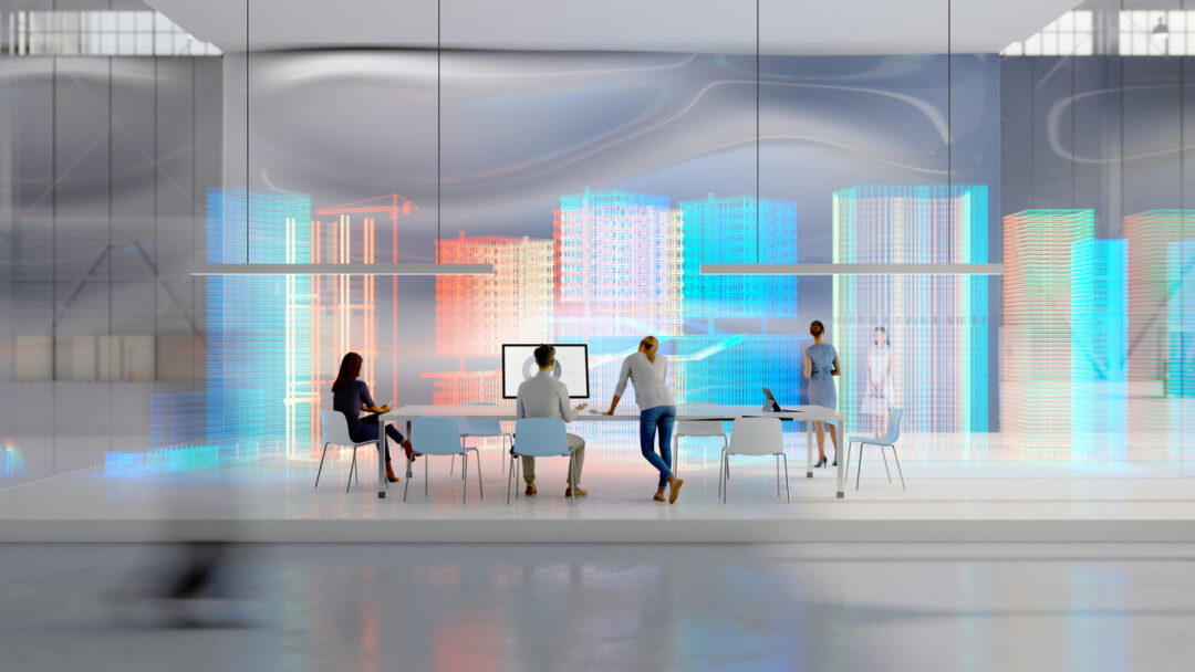 Four employees in a futuristic tech startup room working with augmented reality need commercial insurance.