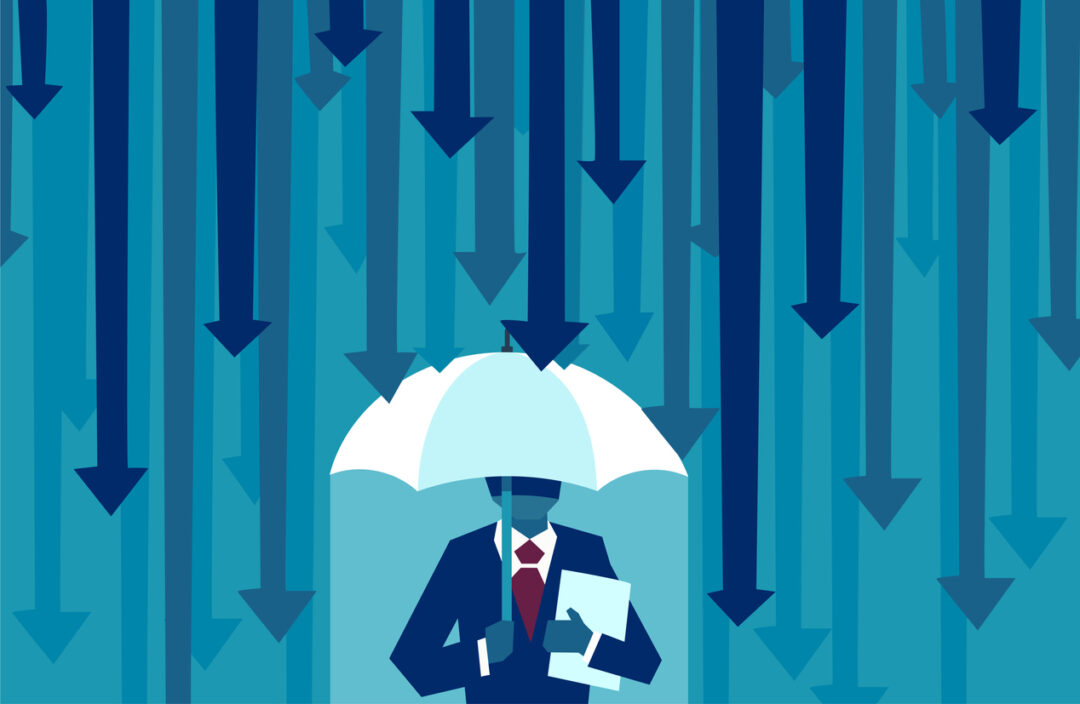 Vector graphic of a businessman with an umbrella and downward arrows in the background committing commercial insurance claim mistakes